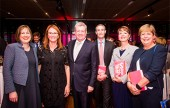 Image caption (from left): Creative Partnerships Australia CEO Fiona Menzies, Naomi Milgrom AO, Minister for Communications and the Arts Mitch Fifield, Peter Wilson, Mary Jo Capps and Julieanne Alroe. Photo by Anna Kucera.